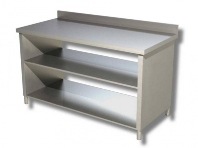 Work table in stainless steel on side panels with 2 shelves and upstand, model 70