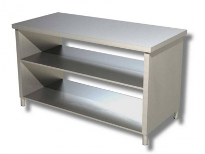 Work table in stainless steel on side panels with 2 shelves, model 70
