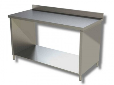 Work tables in stainless steel on side panels with shelf with upstand, model 70