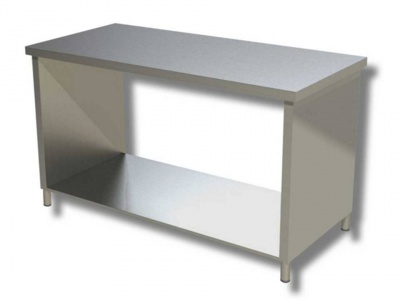 Work tables in stainless steel on side panels with shelf, model 70