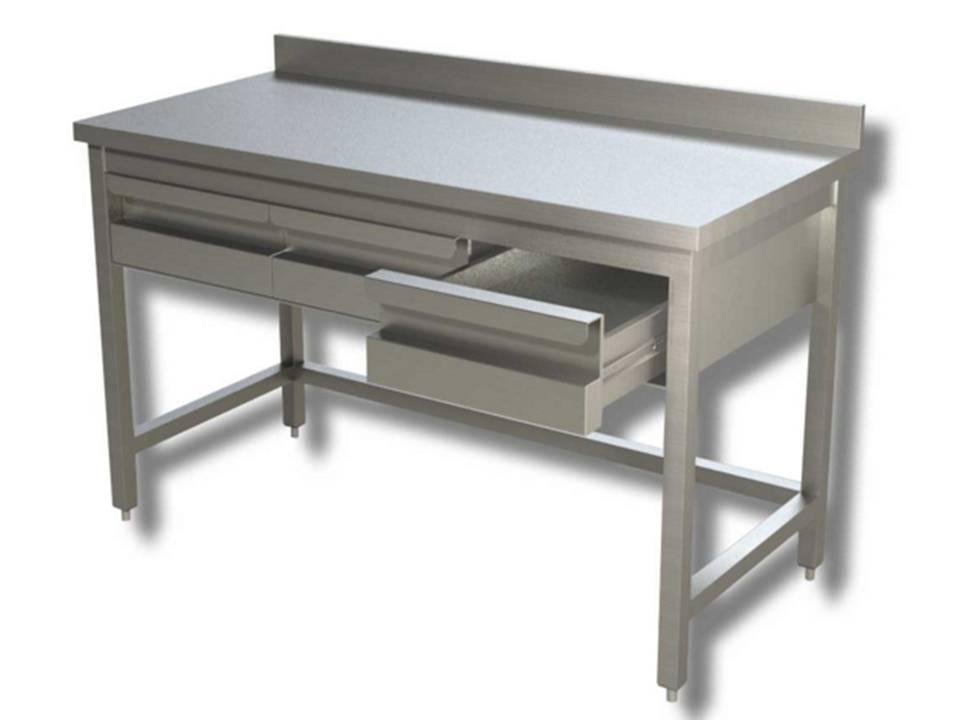 Mondial chef tavolo in acciaio inox su gambe con cassetti e
