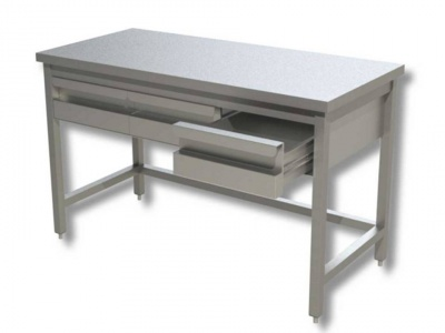 Work tables in stainless steel on legs with drawers, model 70