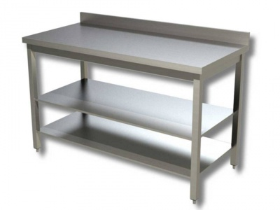 Work tables on legs with n.2 shelves with upstand, model 70