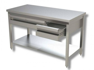 Work tables in stainless steel on legs with shelf and drawers, model 70