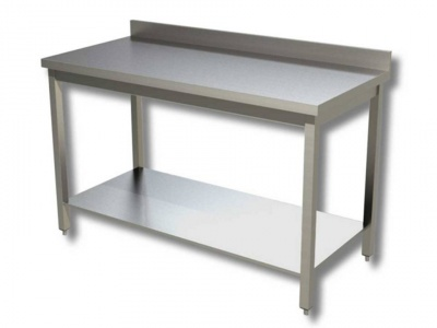 Work tables on legs with shelf with upstand, model 70