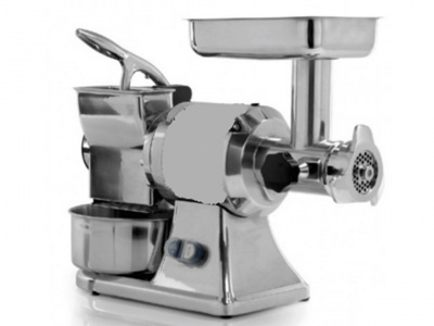 Meat Mincer Grater in stainless steel, aluminium and cast iron, dim 550x200x460 mm.