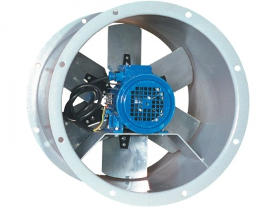 Ventilated axial fan for duct mounting in civil and industrial ventilation systems to convey clean, humid or dusty air and harmful gases. Max. Temperature 40 ° C.