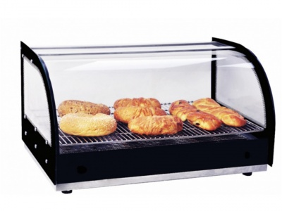 Hot Showcase, stainless steel base - Temp glass sides and curved glass with infrared heating