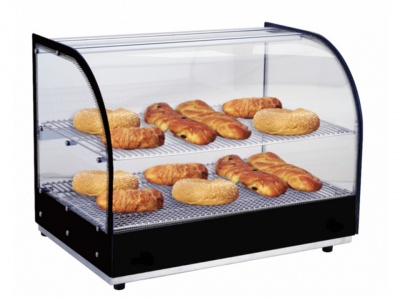 Hot Showcase, stainless steel base - Temp glass sides and curved glass with infrared heating, 2 shelves