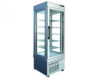 Vertical refrigerated showcase for pastry, temp. +10°C / -5°C with 4 glass sides