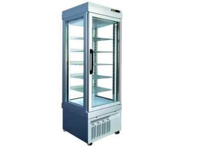 Vertical Refrigerated No-frost Showcase for pastry, normal temp.+2°C /+10°C with 4 glass sides