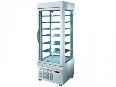 Vertical refrigerated static showcase  for pastry,temp. low -15°C / -25°C with 4 glass sides