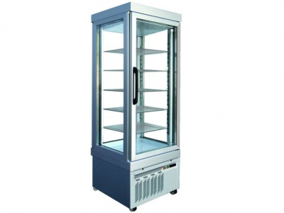 Vertical refrigerated static showcase for pastry, normal temp. +2°C /+10°C, with 4 glass sides